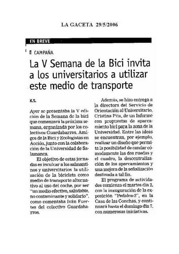 Dossier Prensa 2006. Guardabarros. Comité de Bici Urbana Salamanca.