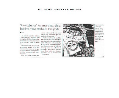 Resúmenes de Prensa 1998. Guardabarros Comité de Bici Urbana. Salamanca
