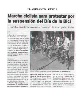 Dossier Prensa 1999. Guardabarros. Comité de Bici Urbana Salamanca.