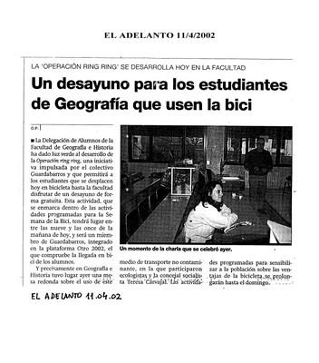 Dossier Prensa 2002. Guardabarros. Comité de Bici Urbana Salamanca.